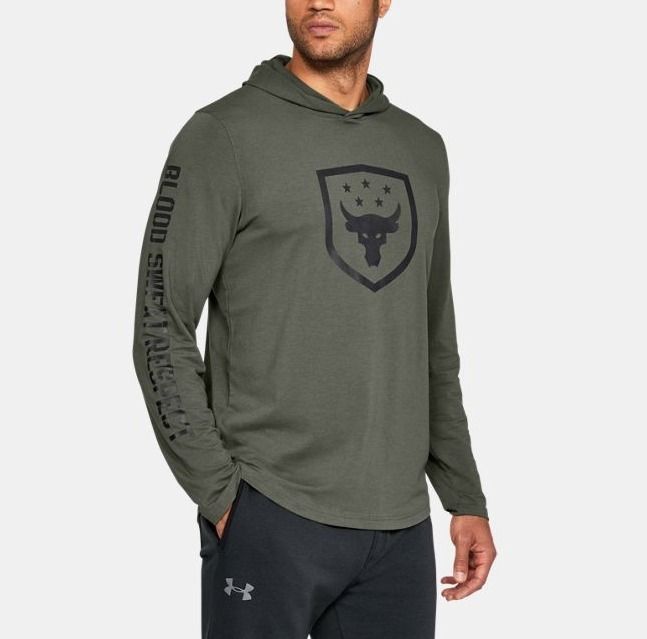 【UNDER ARMOUR x Rock】新作★送料込 袖ロゴフーディーTroops