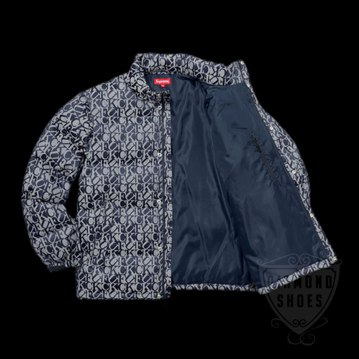 FW17 SUPREME FUCK JACQUARD PUFFY JACKET NAVY S-XL 送料無料