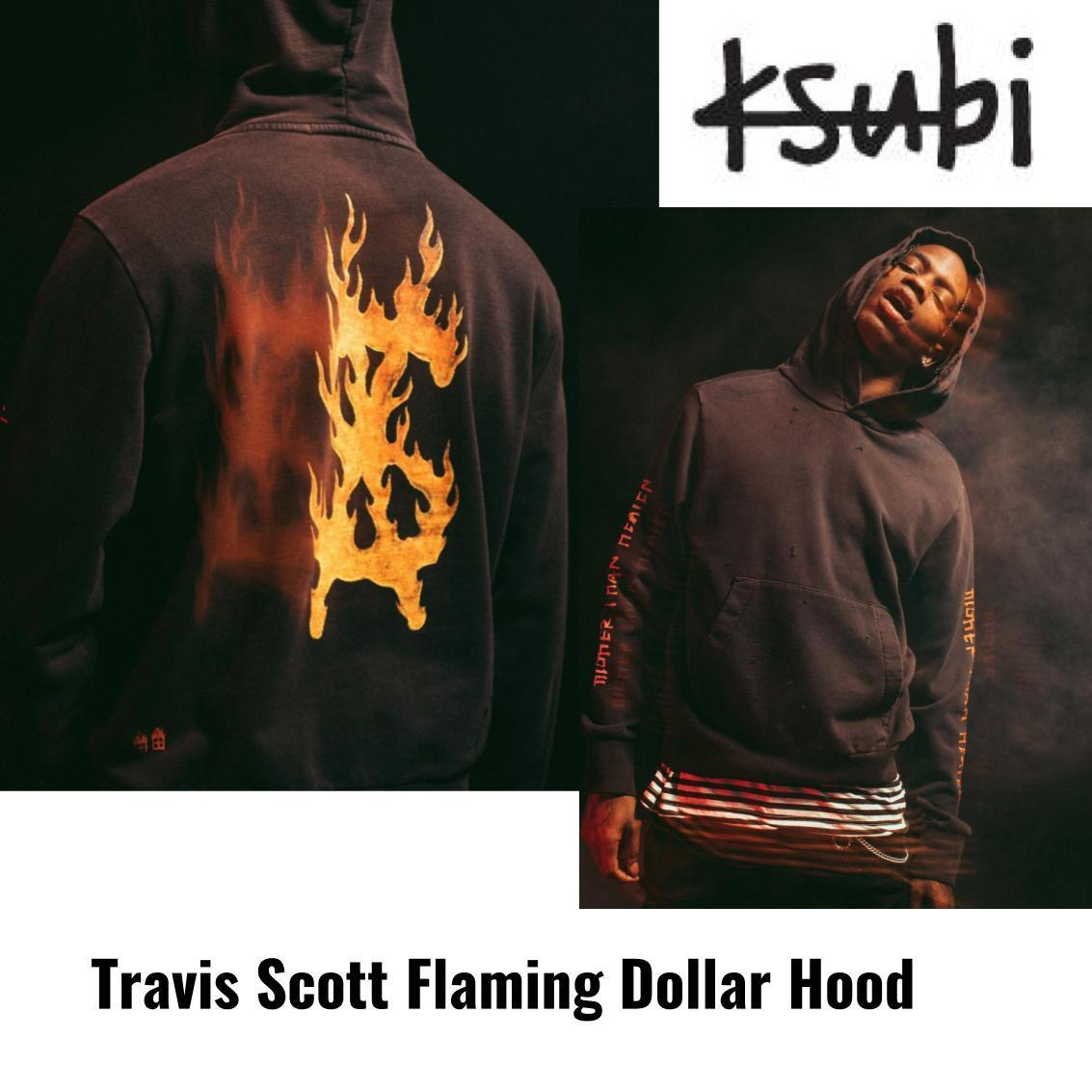 KSUBI×Travis Scott★限定コラボ パーカーFlaming Dollar Hood