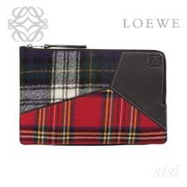 LOEWE★ロエベ Puzzle Flat Pouch Black/Multicolor Tartan