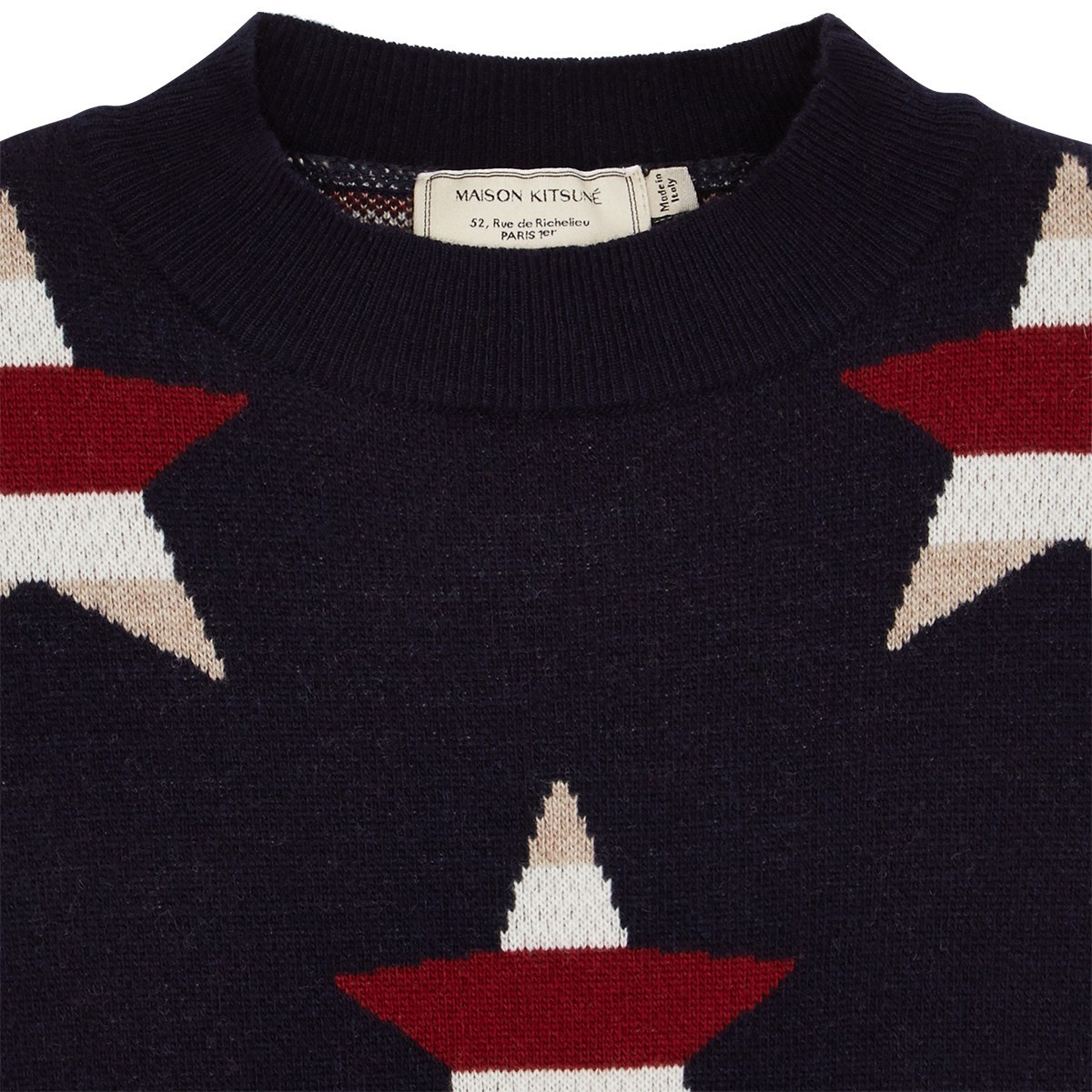 取寄★MAISON KITSUNE 17AW ALL-OVER STARS PULLOVER ネイビー