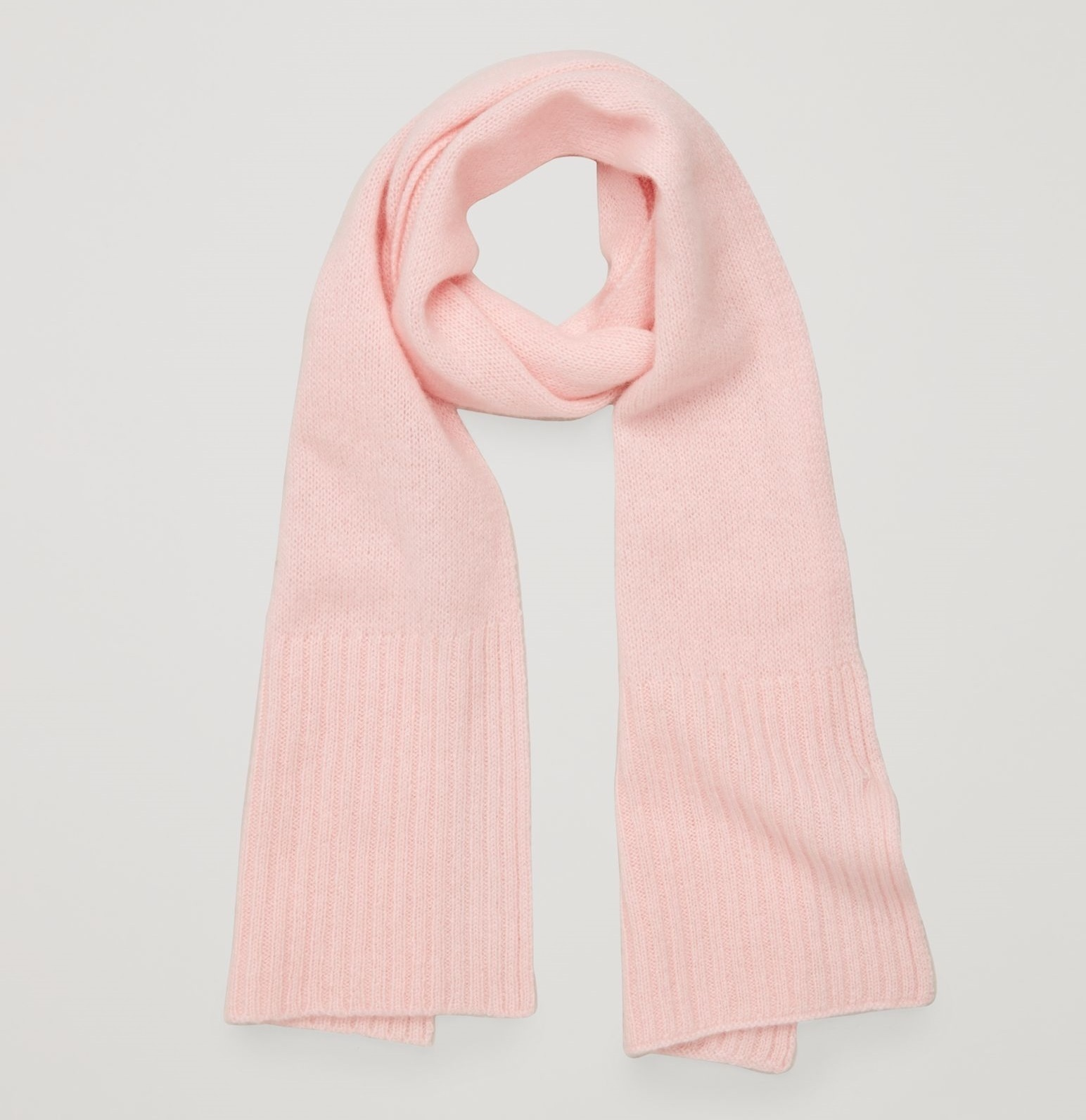 """COS KIDS""RIBBED-EDGE CASHMERE SCARF PINK"