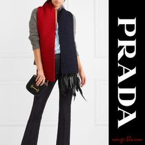 【国内発送】PRADA Beaded feather-trimmed wool scarf