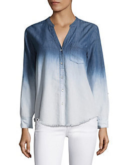 アメリカ発 Normana Ombre Frayed Silk Denim Shir 関税送料込み