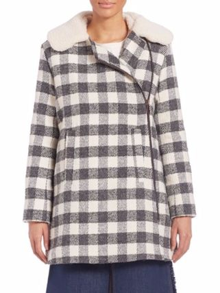 See by Chloe コート 限定セール【SEE BY CHLOE 】Oversized Checkered Faux Fur Coat