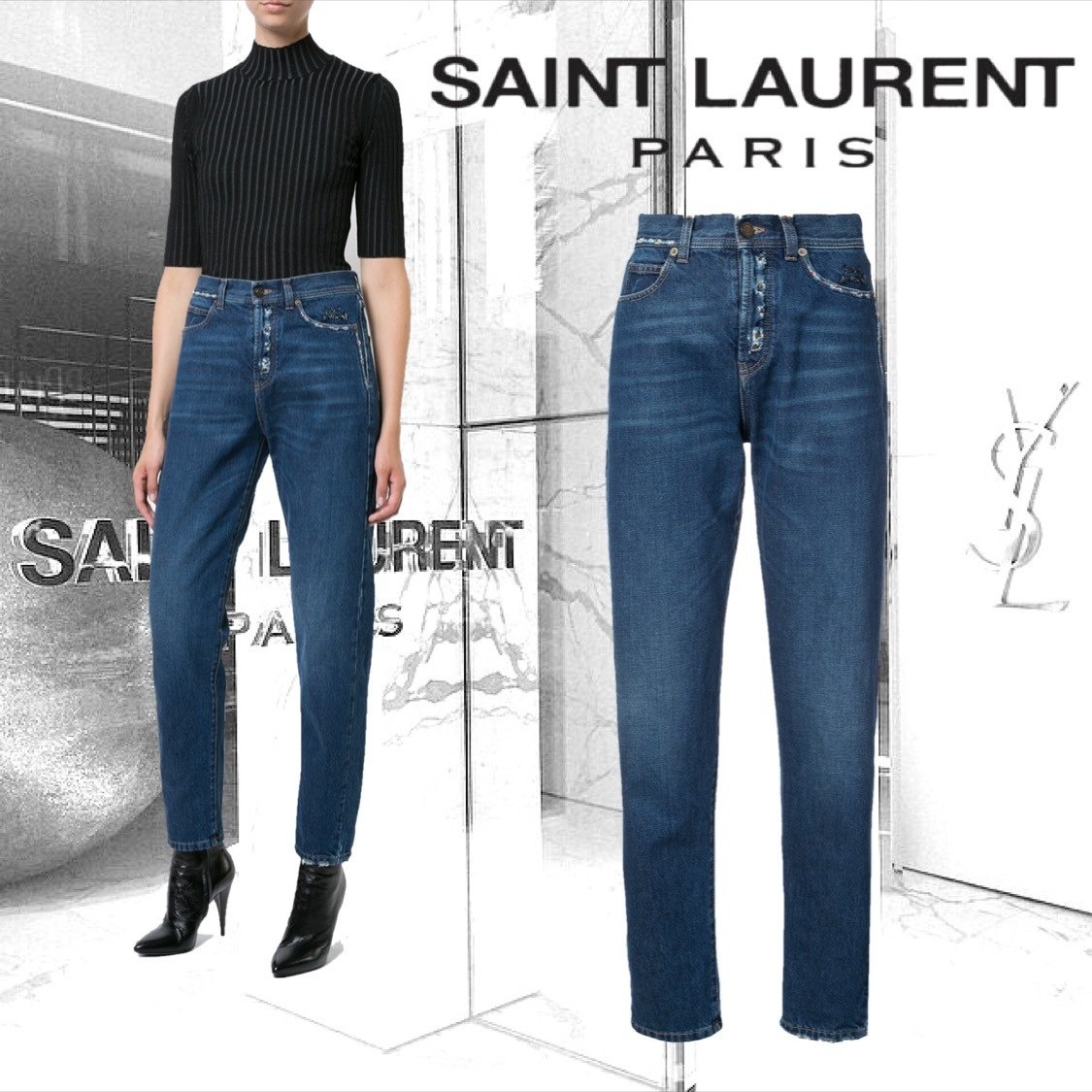 【SAINT LAURENT】ETHNIC EMBROIDERED JEANS スリムフィット
