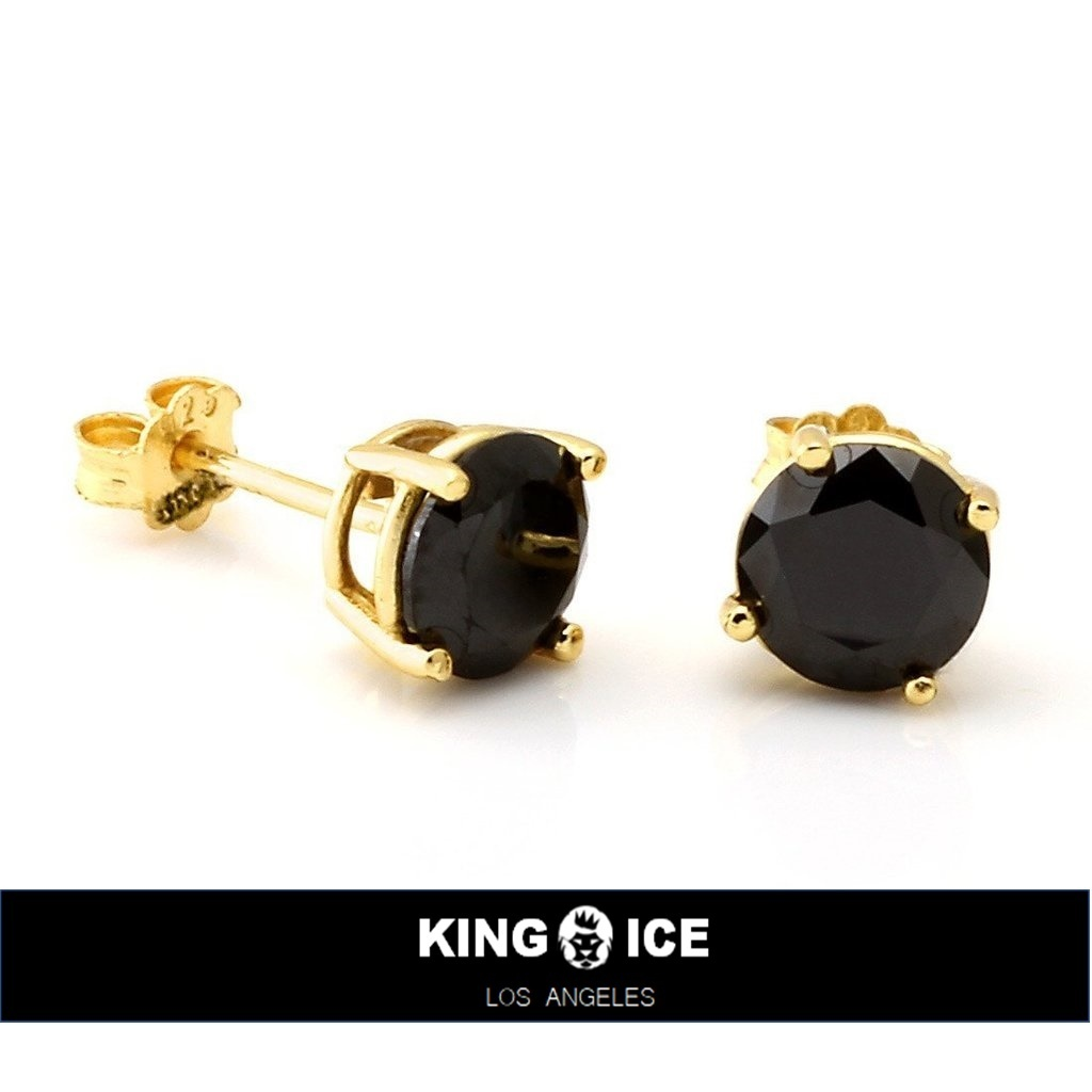 国内発送★KING ICE★Gold Black Round CZ Stud Earrings
