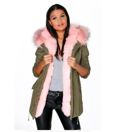 日本未発売 ☆boohoo ☆ Boutique Maria Faux Fur Trim Parka