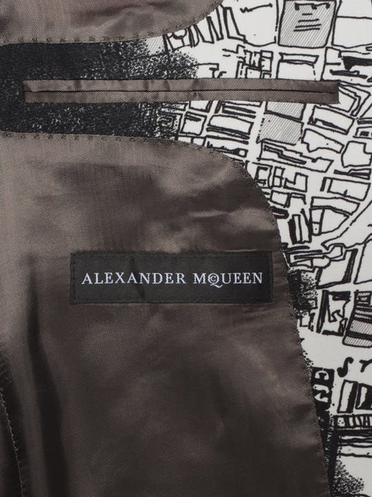 "*Alexander McQueen*""London Map"" Print Jacket WHITE/BLACK"