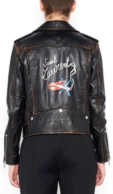 送料・税込★SAINT LAURENT★Lips & Logo  Biker ジャケット