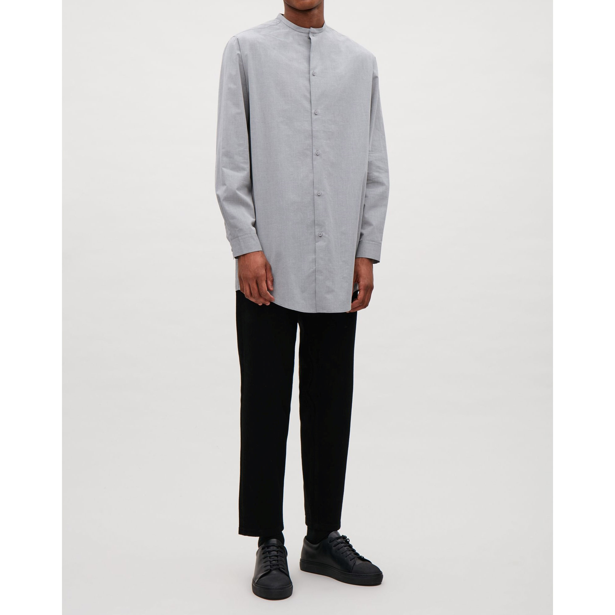 COS☆GRANDAD-COLLAR SHIRT / grey