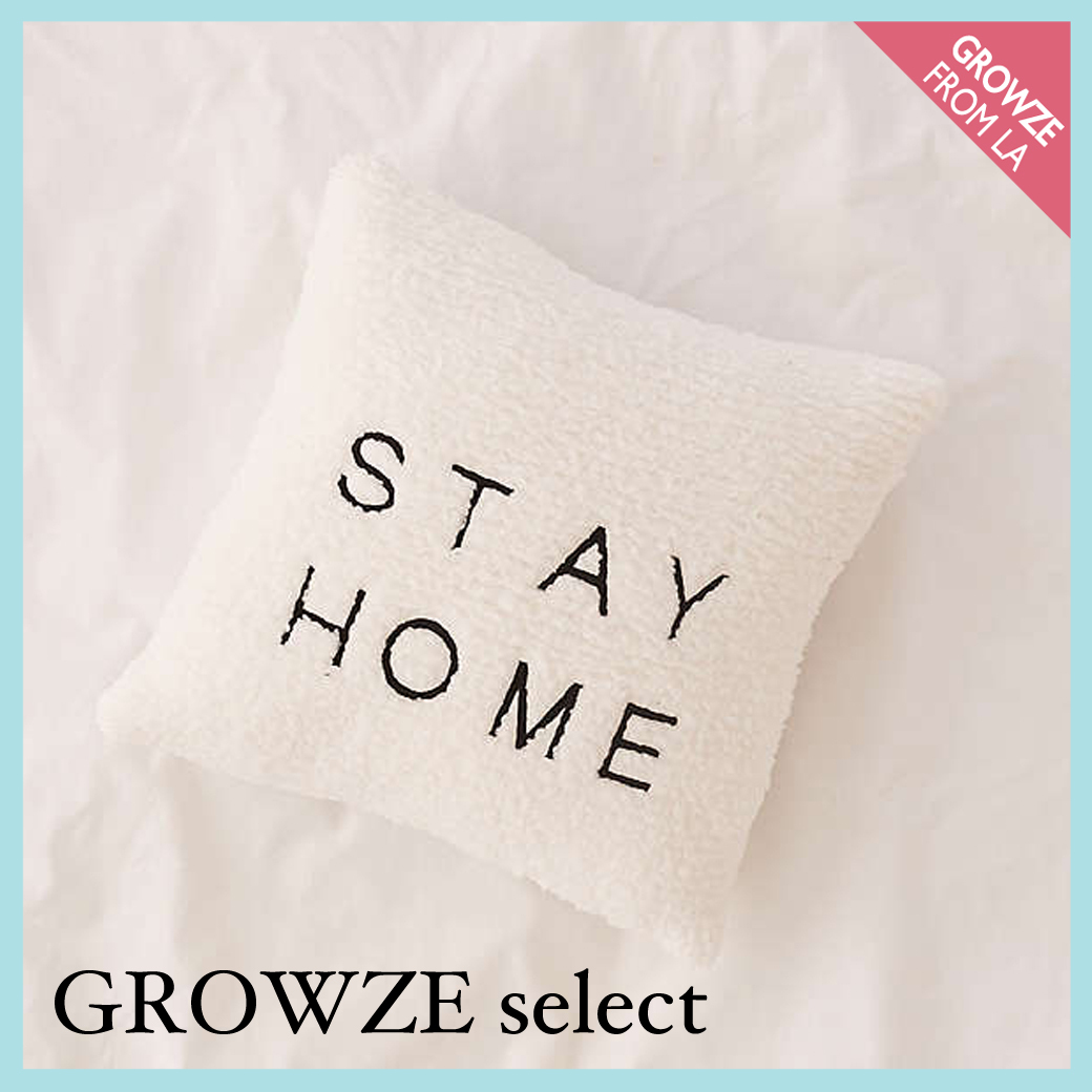 【GROWZE select】新作☆STAY HOME 刺繍 フリース クッション☆