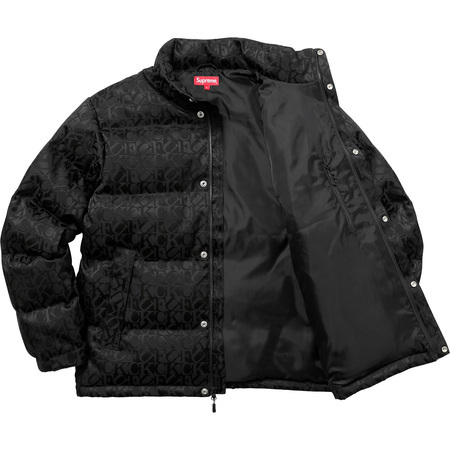 17A/W Supreme Fuck Jacquard Puffy Jacket Black