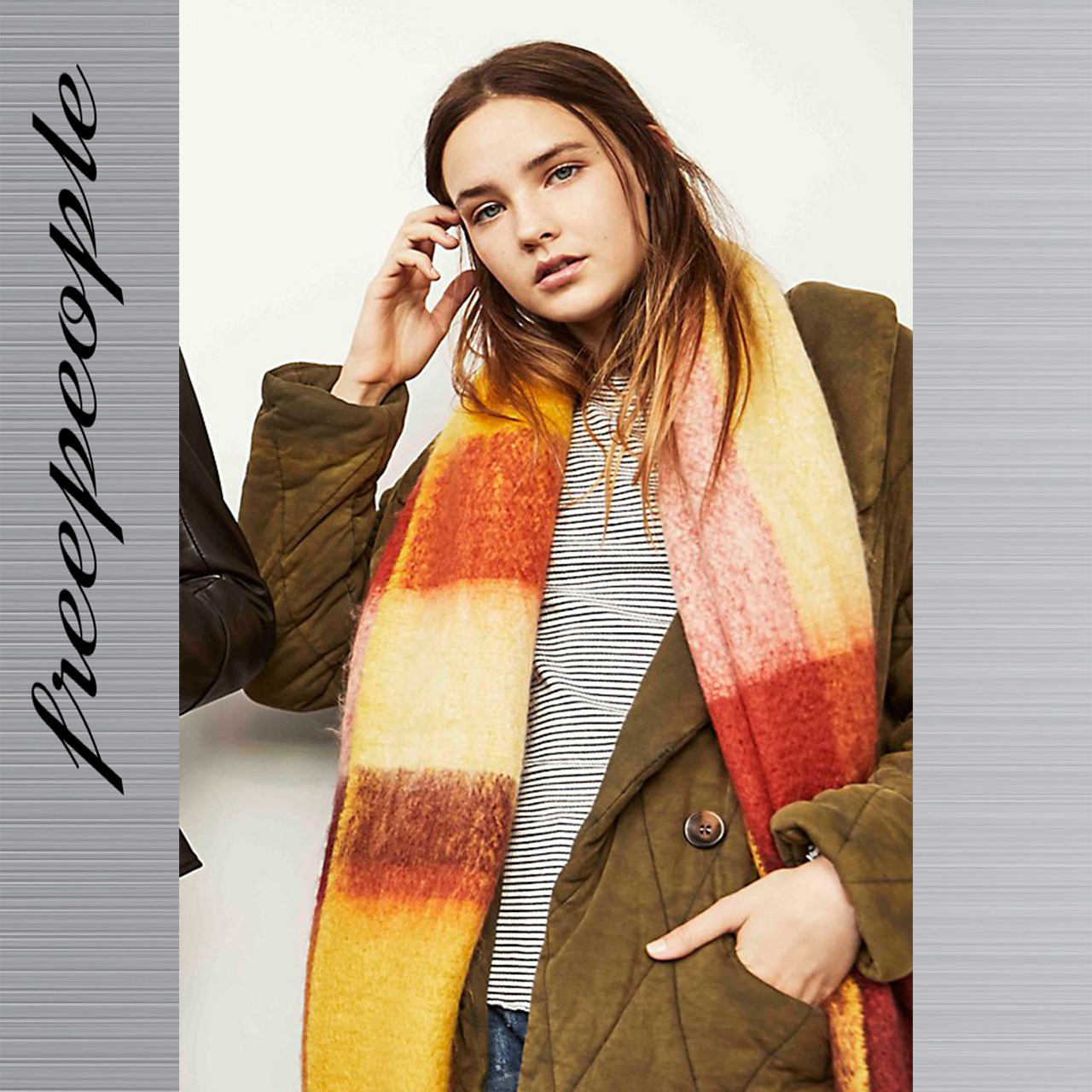 Free People フリーピープル Cameron Brushed Plaid スカーフ