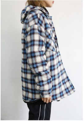 追跡韓国発NEWPICKLE FLANNEL CHECKED HOOD PADDING 2色男女兼用