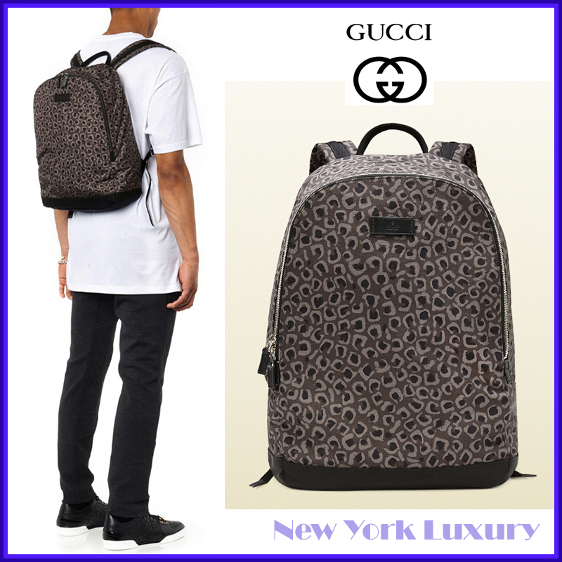 GUCCI★グッチ★素敵! Leopard Print Canvas Backpack