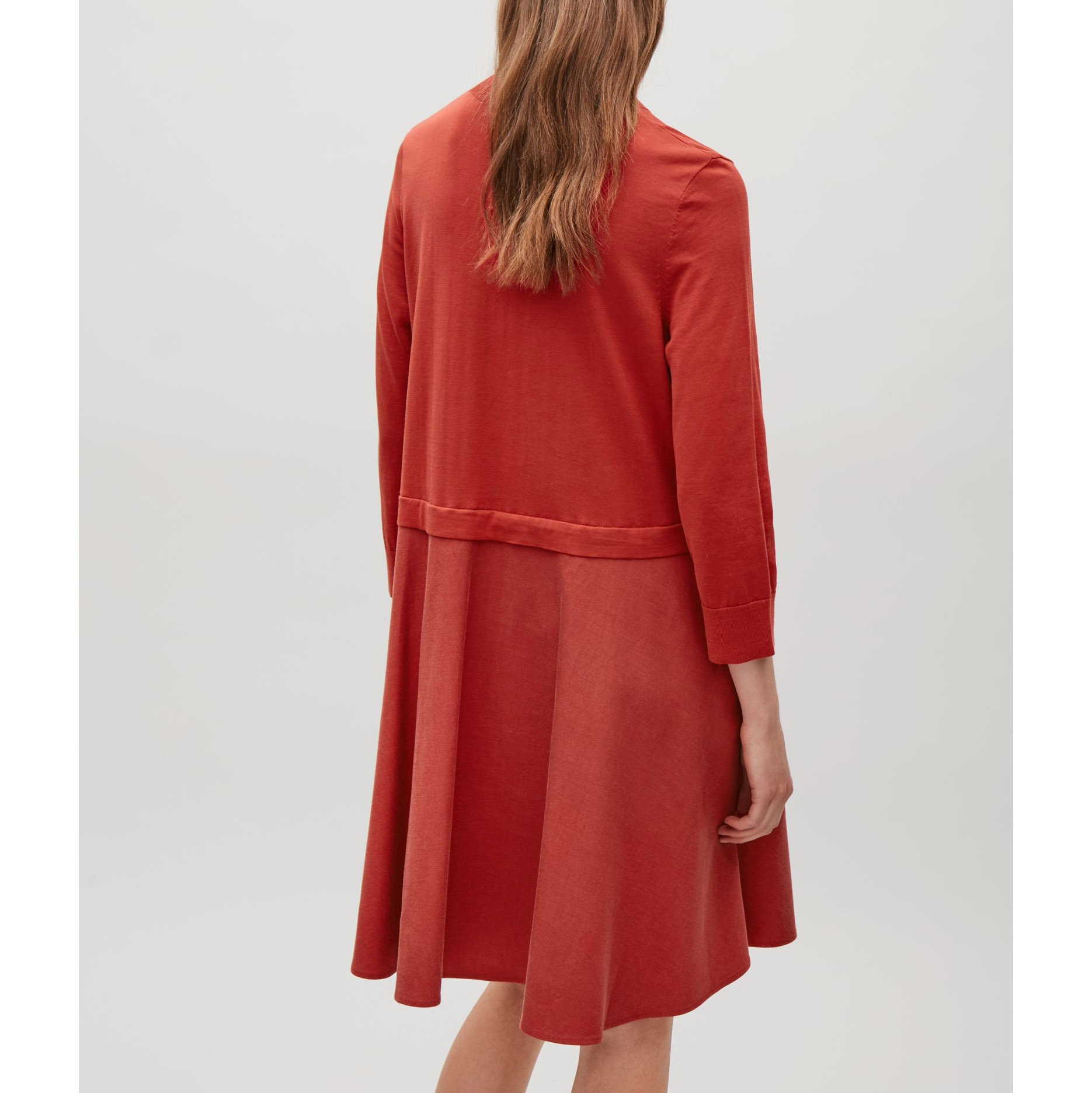 COS☆KNITTED DRESS WITH WOVEN SKIRT / red