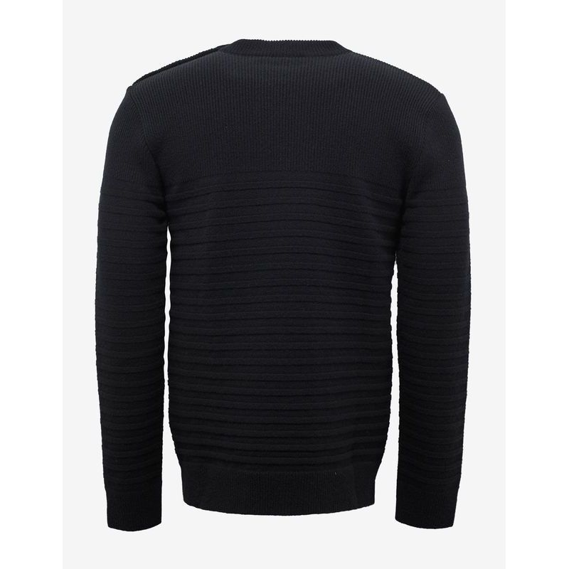 先取りVIP SALE★BALMAIN★Black Ribbed Wool Sweater セーター