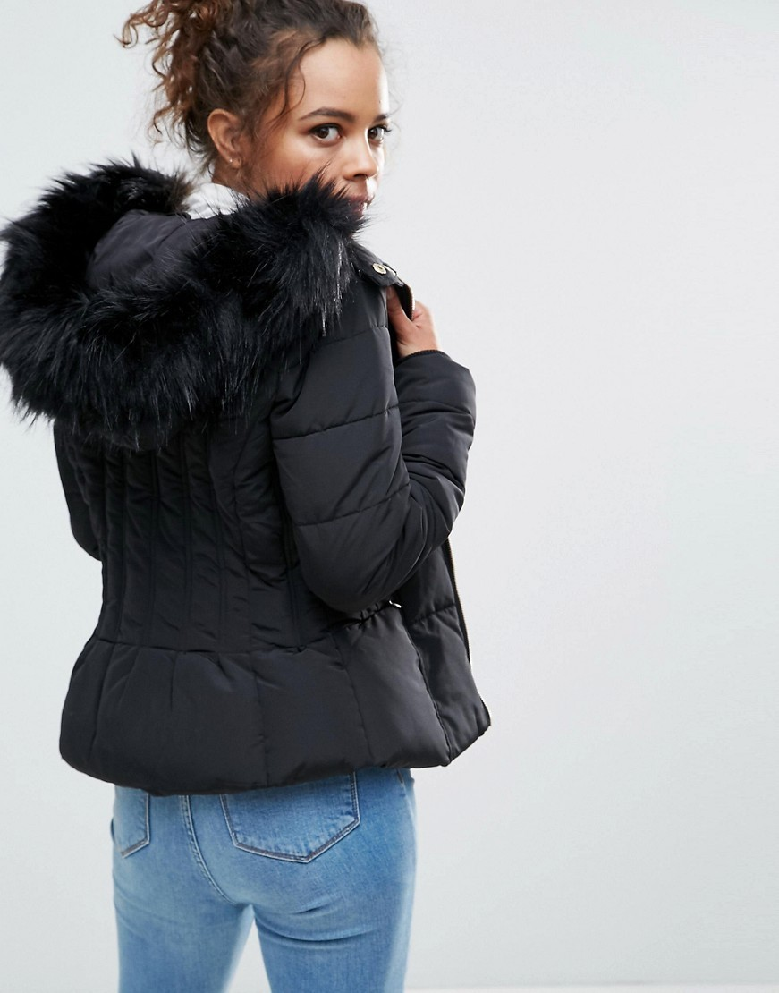 ファー専門 Miss Selfridge Petite Padded Faux Fur Jacket