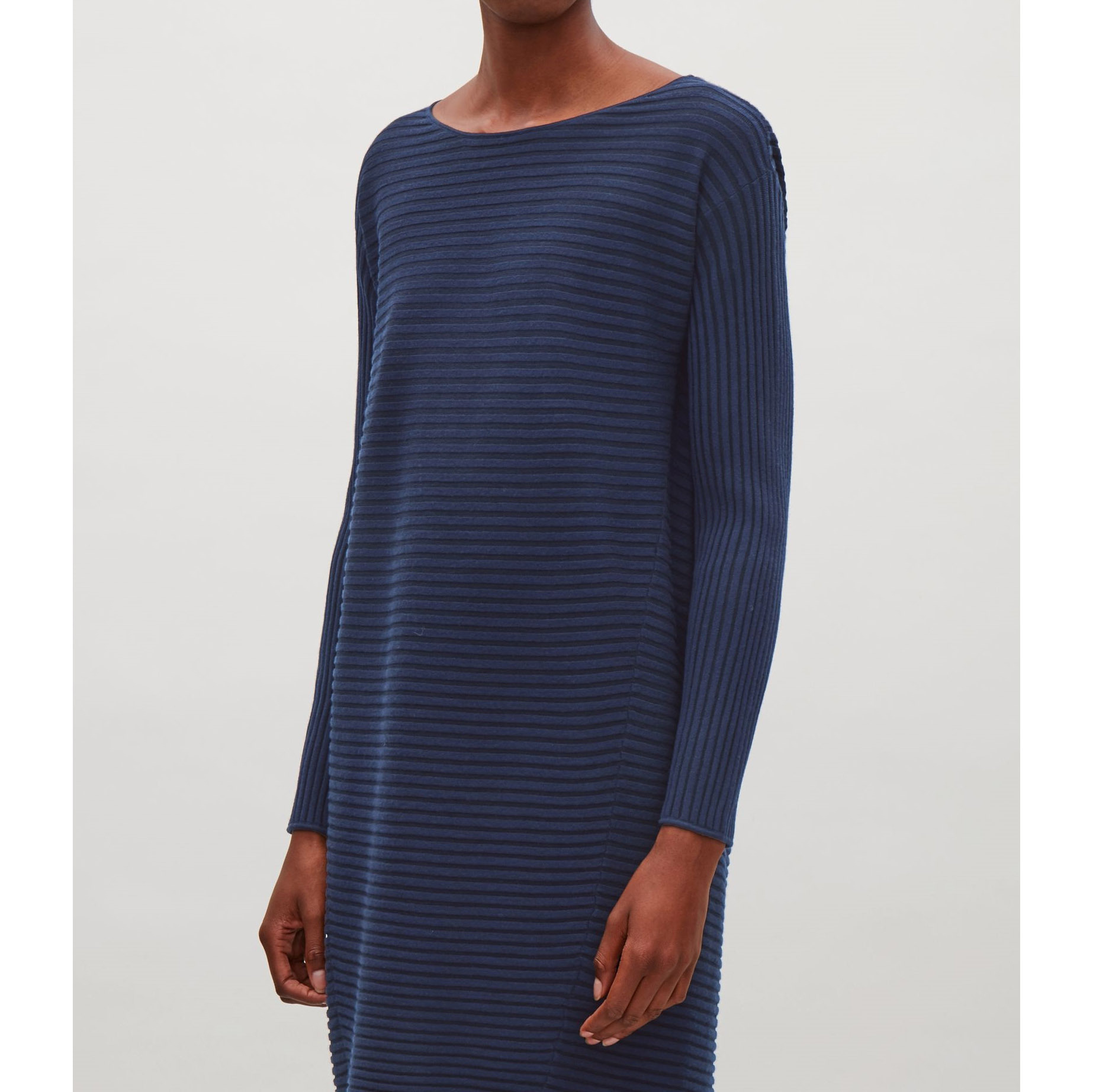 COS☆RIBBED MERINO-WOOL DRESS / blue