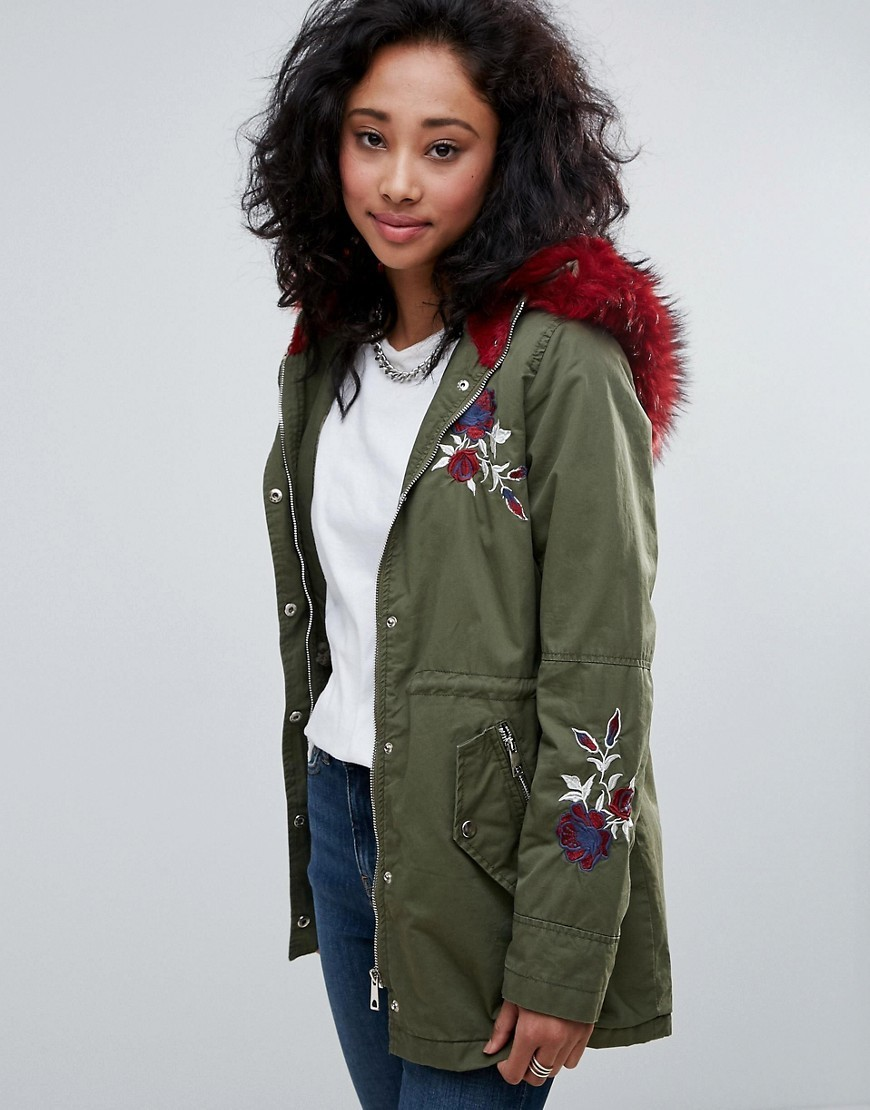 ファー専門 Urban Bliss Embroidered Parka Coat With