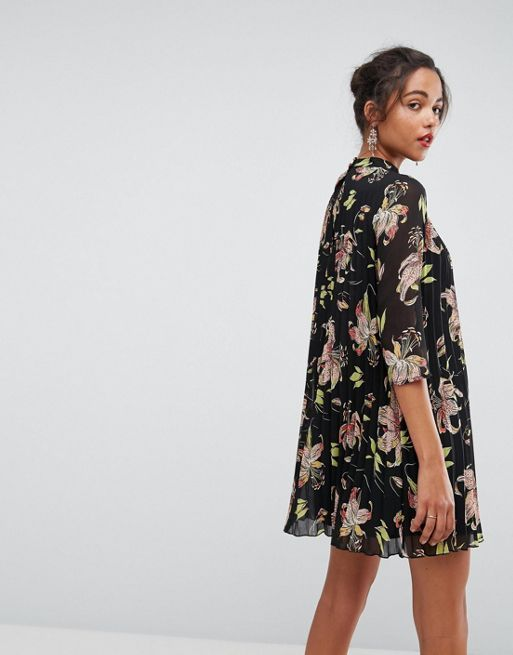 ASOS*新作ワンピース*High Neck Pleated Mini Floral D*関送無料
