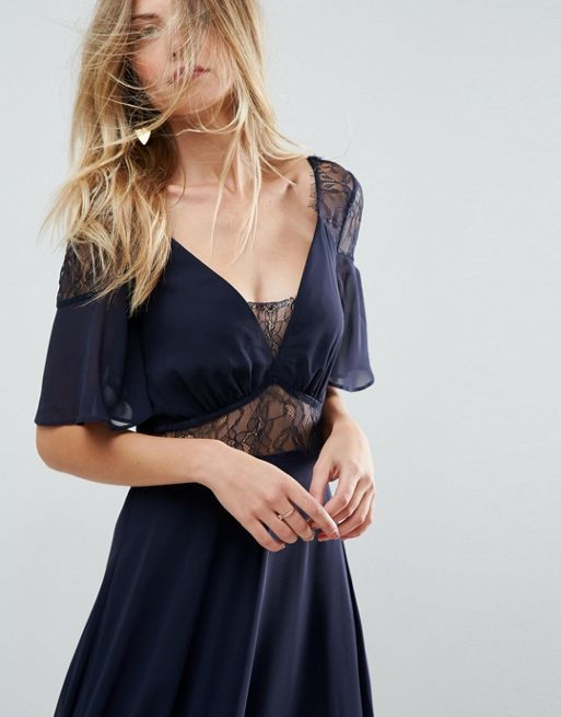 ASOS*新作ワンピース*Lace Insert Flutter Sleeve Maxi*関送無料