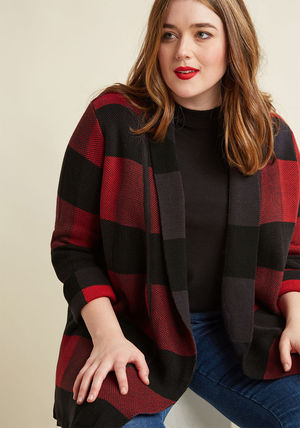 ◎送料込み◎ simply snuggly plaid cardigan in carmine