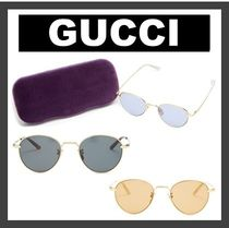 GUCCI Round-frame metal sunglasses 3点セット (送料・関税込)