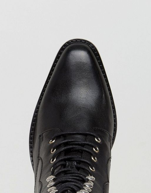 送料込 ASOS AILEEN Leather Lace Up Boots  ブーツ