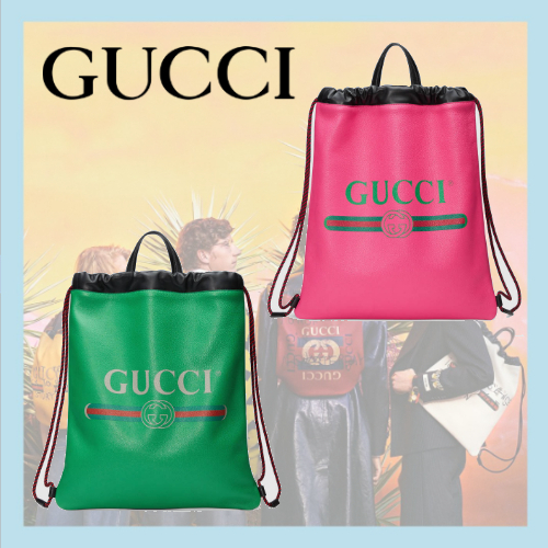 Gucciグッチ/Leather drawstring backpackレザーバックパック2色
