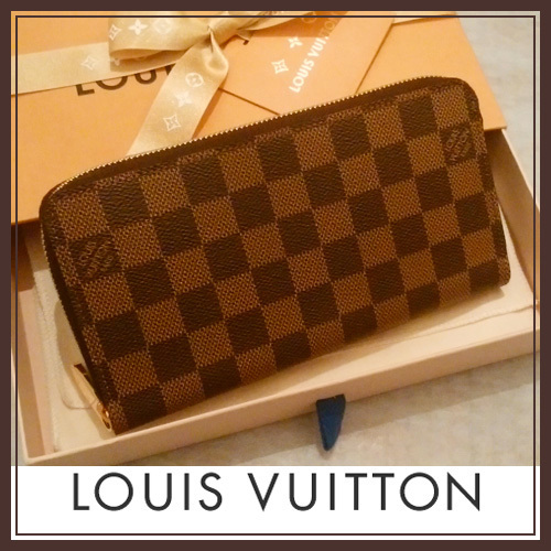 LOUIS VUITTON 国内発送 ジッピー・ウォレット ダミエ・エベヌ