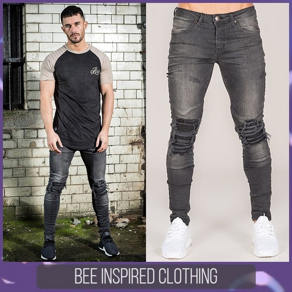 Bee Inspired Clothing*スキニーフィットジーンズ ダメージ