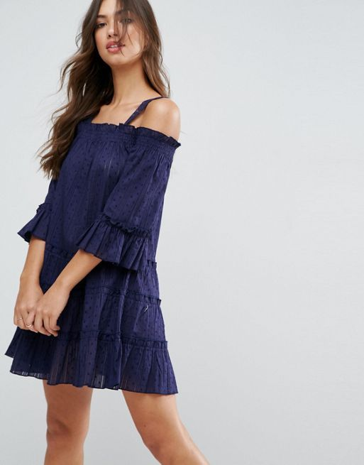 ASOS*新作ワンピース*Dobby Spot Tiered Cold Shoulder*関送無料