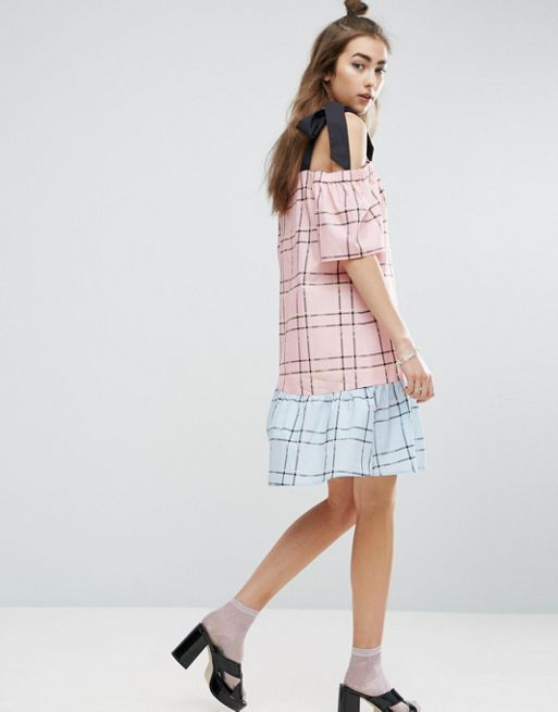 ASOS*新作ワンピース*Check Mix and Match Cold Should*関送無料