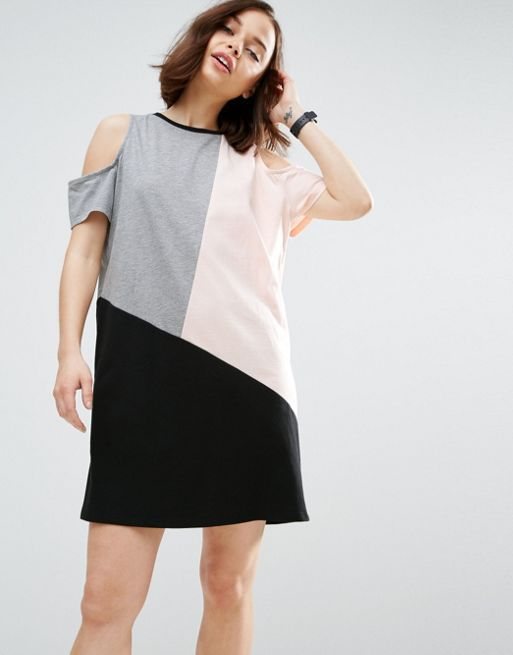 ASOS*新作ワンピース*Colour Block Dress With Cold Sh*関送無料