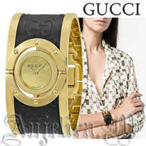 ★追跡付き★GUCCI Twirl Gold Dial Two Tone Bangle YA112444