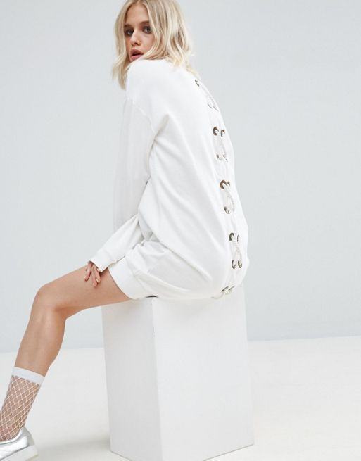 ASOS*新作ワンピース*Sweat Dress With Lace Up Back*関送無料