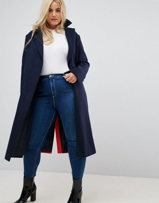 送料込 ASOS CURVE Coat in Colourblock コート