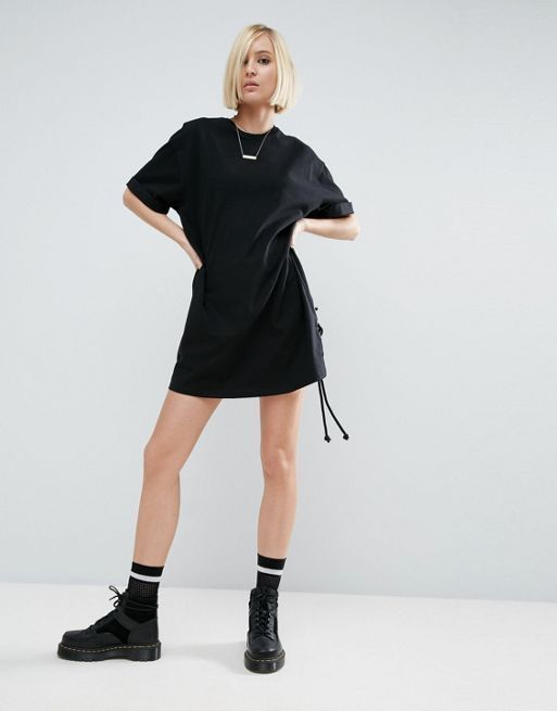 ASOS*新作ワンピース*T-Shirt Dress With Lace Up Side*関送無料