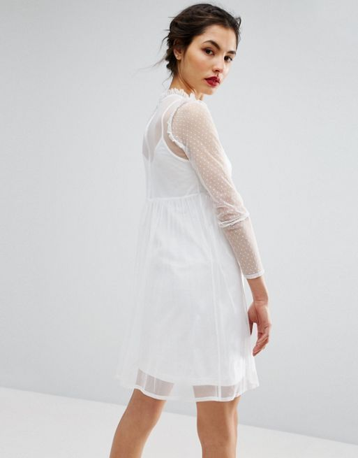 ASOS*新作ワンピース*Dobby Mesh Embroidered Smock Dr*関送無料