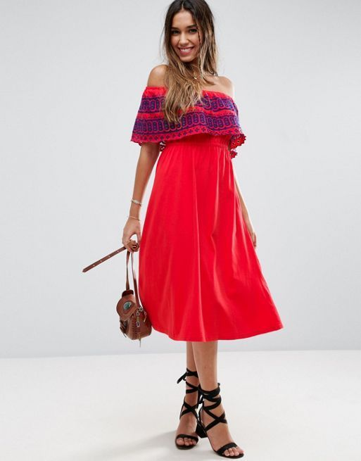 ASOS*新作ワンピース*Off Shoulder Midi Sundress with*関送無料