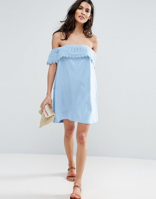 ASOS*新作ワンピース*Off Shoulder Sundress with Lace*関送無料