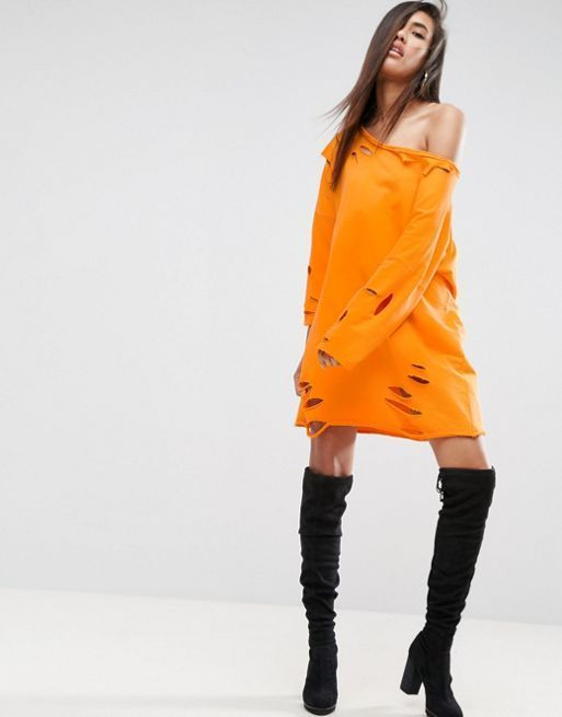 ASOS*新作ワンピース*Off Shoulder Sweat Dress with N*関送無料