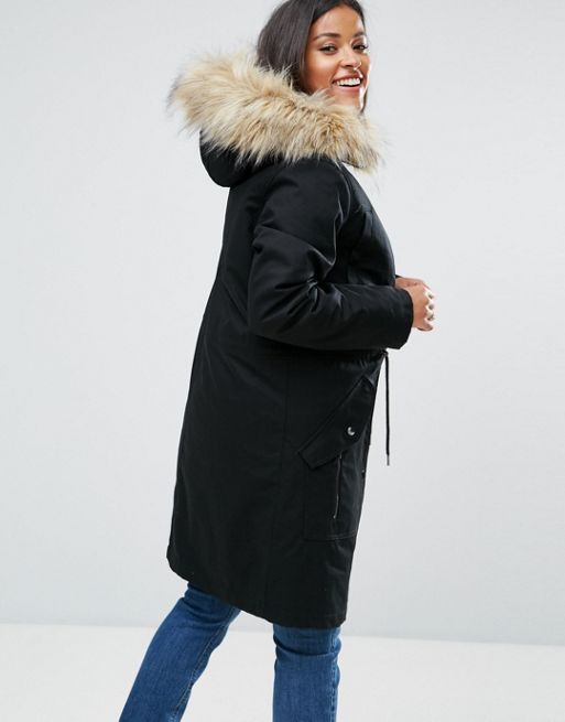 送料込 ASOS MATERNITY Duffle Coat with Faux Fur Hood コート