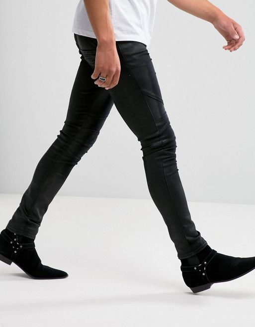 新作*ASOS Extreme Super Skinny Biker Jeans In Coated  デニム