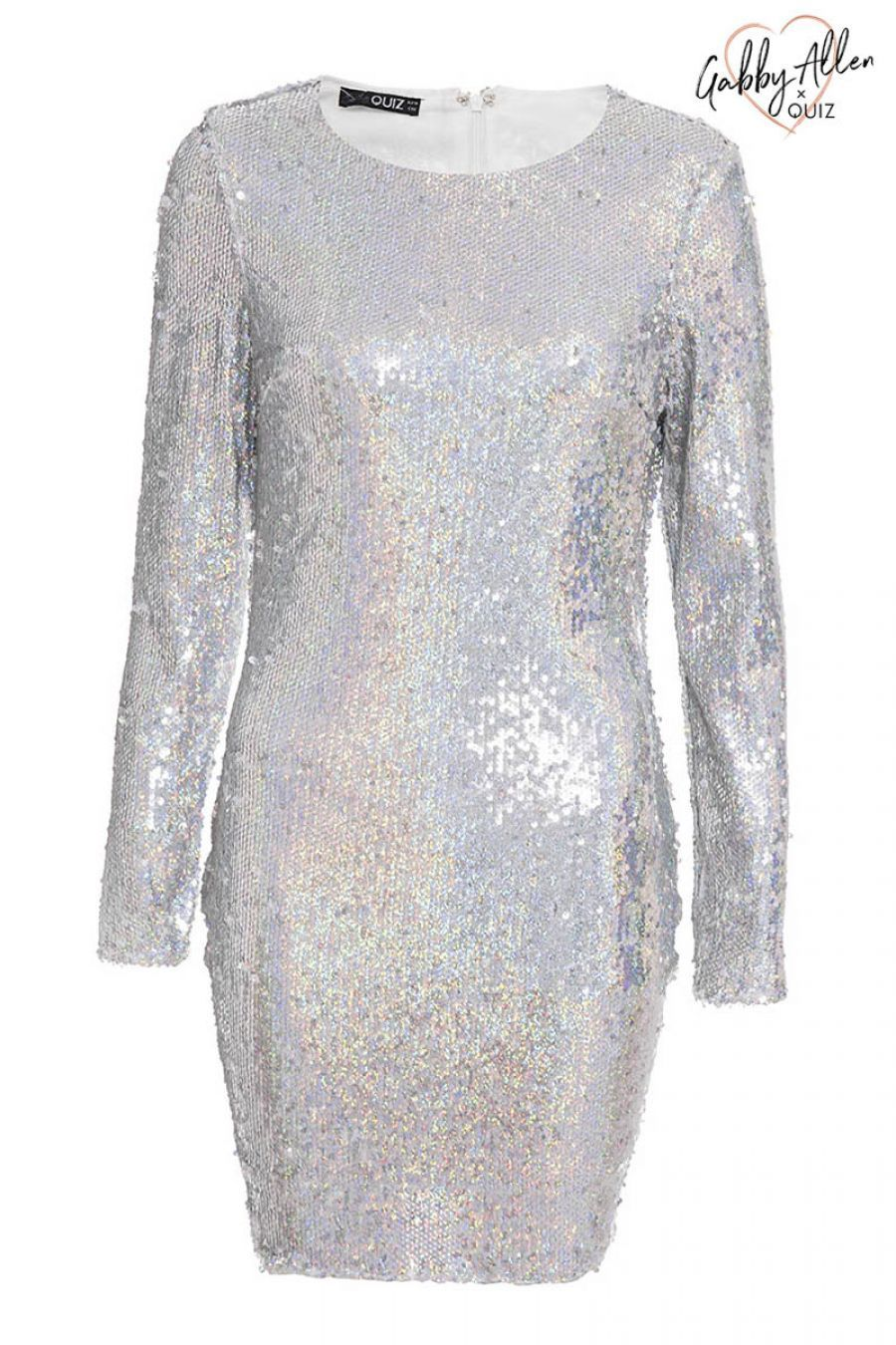 【海外限定】Quiz人気ドレス☆Gabby's Silver Hologram Stretch