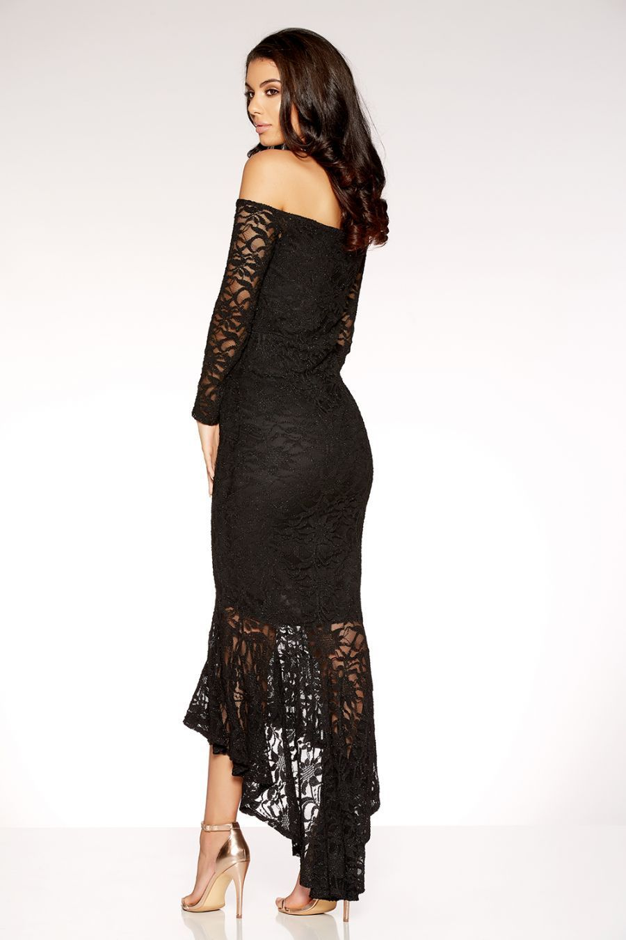 【海外限定】Quiz人気ドレス☆Black Glitter Lace V Bar Maxi Dr