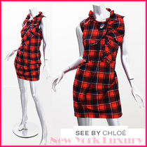 See by Chloe★素敵!Red Plaid Ruffles Key Hole Dress