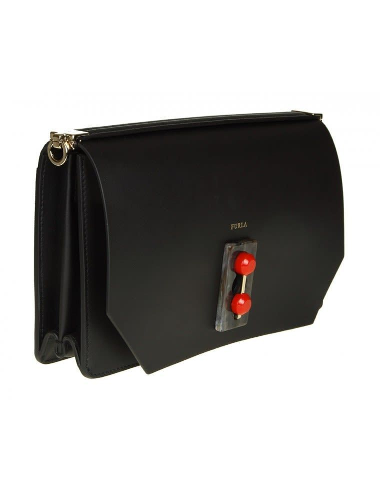 送料込 Snap S Furla Bag In Black Leather バッグ